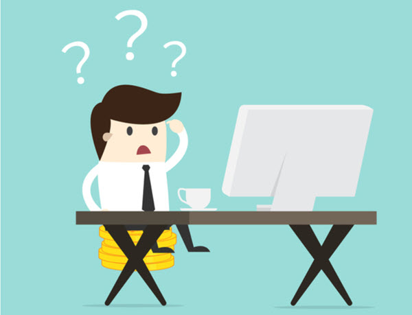 Illustration of confused man looking at computer monitor.