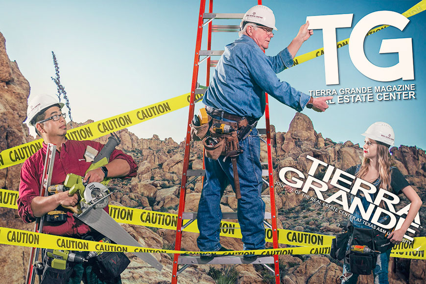 Photo of Tierra Grande magazine cover being renovated.
