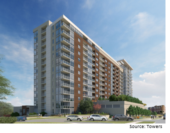 Rendering of Austin apartment tower