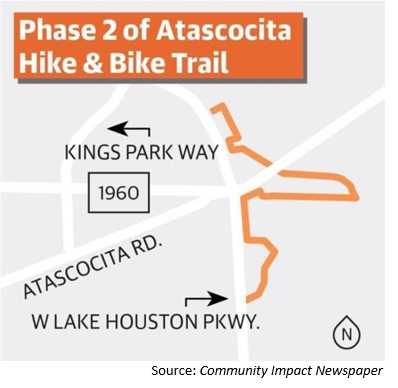 Map showing new Atascocita trail