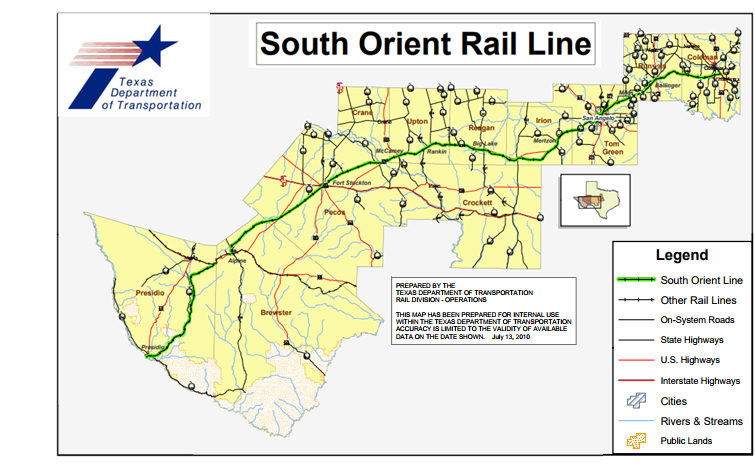 Map of the 391-mile South Orient Rail Line