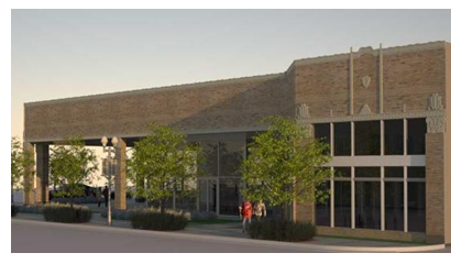Rendering of redeveloped Firestone building