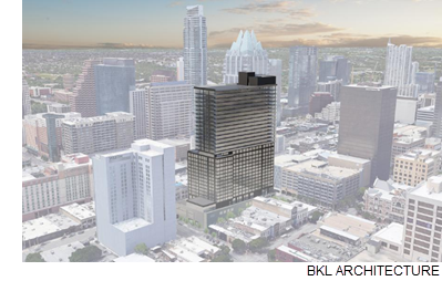 A rendering of 5th & Brazos in Austin.