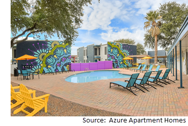 Poolside view of Azure Apartments and Townhomes at 1212 Westheimer Dr.