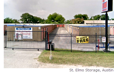 Austin: St. Elmo Storage is on 1.2 acres with a four-building facility comprised of 319 non-climate-​controlled units, ranging from 40 to 200 sf.