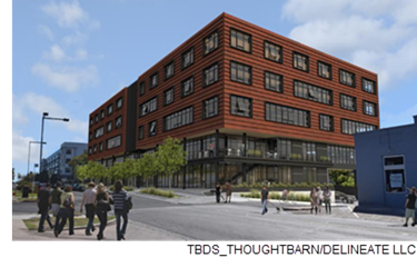 Rendering of the new cross-laminated timber building.