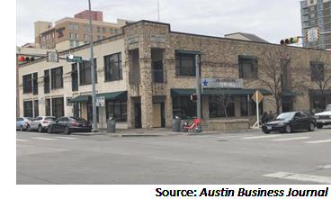 Street view of Brazos Loft at 411 Brazos St.