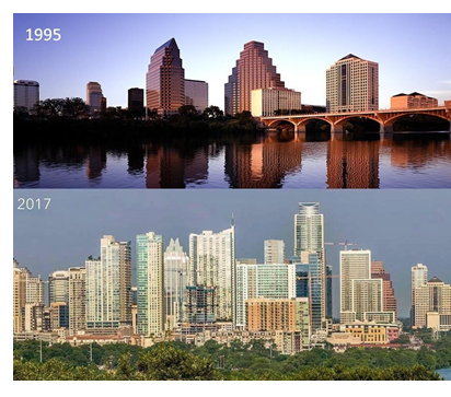 Austin skyline then and now