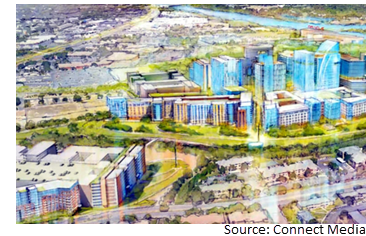 An illustration of the plans for 4700 E. Riverside, a mixed-use development
