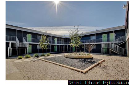 View of the courtyard at Highland Heights at 803 Tirado St.