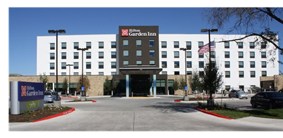 Front of Hilton Garden Inn at Austin-Bergstrom