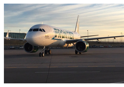 Frontier airliner on tarmac at airport