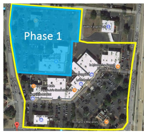 Site plan for phase one of redevelopment