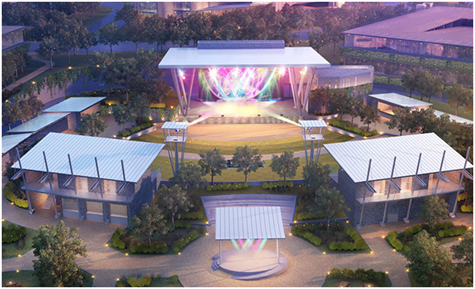 Rendering of the main stage at The Backyard
