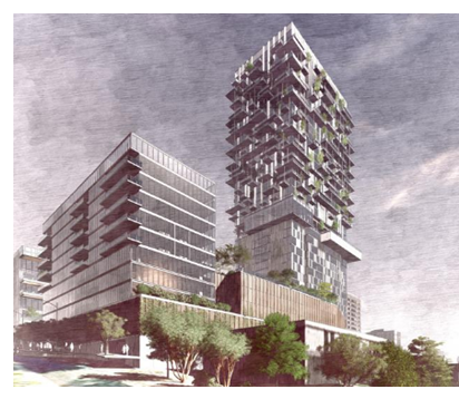 Rendering of the towers in downtown Austin