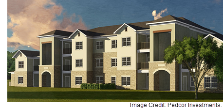 A rendering of the Live Oaks Apartments project, which broke ground Tuesday, July 25th in Georgetown.