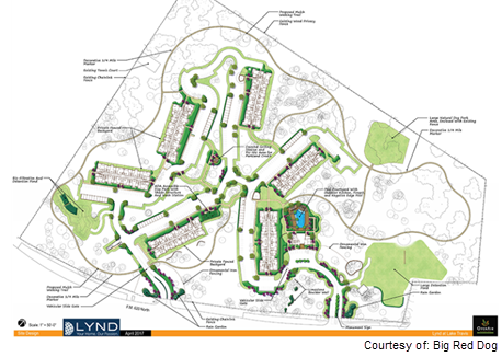Rendering of site plan for Lynd community in Lake Travis
