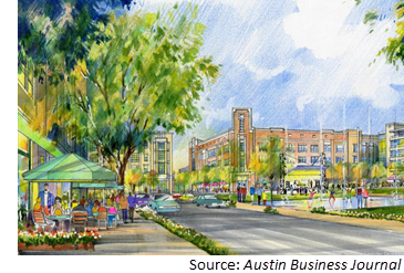 Rendering of Northline, a 115-acre mixed-use development in Leander