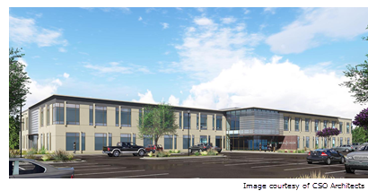 Rendering of Mesa Creek office building