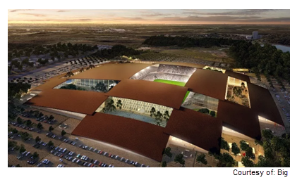 Rendering of East Austin sports and entertainment complex