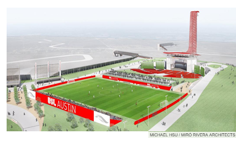 Rendering of stadium for soccer league in Austin