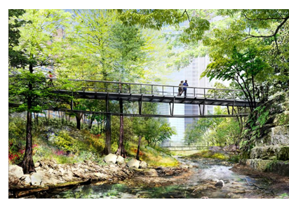 Rendering of a bridge in Waterloo park
