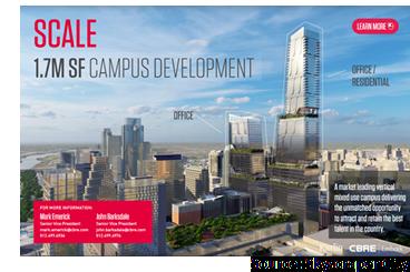 Rendering of 1.7 million sf development from Karlin/CBRE marketing brochure