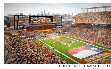 A rendering of what's imagined rising in the south end zone of Darrel K Royal-Texas Memorial Stadium.