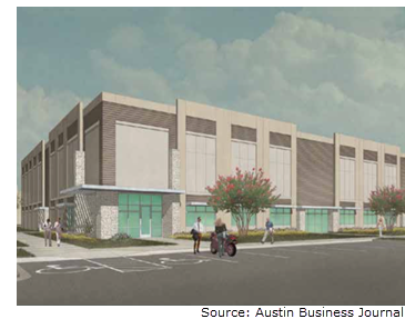 Rendering of Settlers Crossing in Round Rock. It is a glass and concrete modern-style industrial building