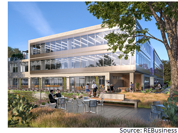 Rendering of outdoor area at Eastlake at Tillery, a 172,000-sf office development