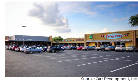 View from the parking lot of West Anderson Plaza at 2438 W. Anderson Ln.