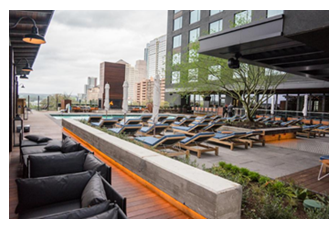 Lounge chairs on hotel deck