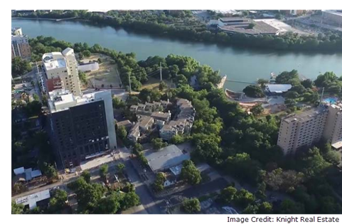 Aerial view of 80 Red River St. condos.