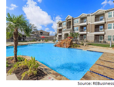 Poolside view at Vantage at Boerne, a 288-unit apartment community