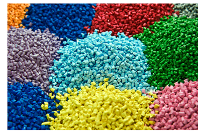 Colorful plastic pellets, like the kind that would be produced from extracted ethane, and shipped to China to be made into consumer goods.