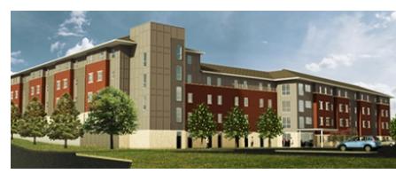 Rendering of student housing at Blinn's Brenham campus
