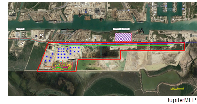 Site map of the JupiterMLP Terminal at the Port of Brownsville.