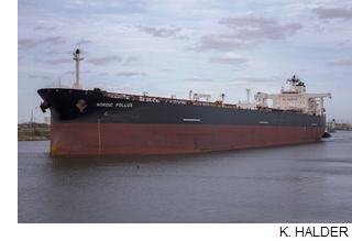 The Cayman Island-flagged tanker Nordic Pollux made a small piece of maritime history as the largest ship ever to call on the Port of Brownsville.