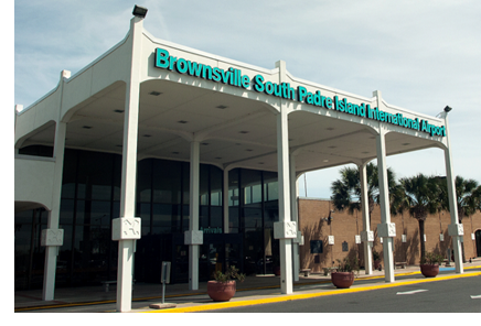 The entrance to the Brownsville South Padre Island International Airport
