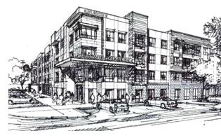 A sketch of the 333-unit Quest apartments to be built by North American Properties in partnership with RSE Capital Partners.