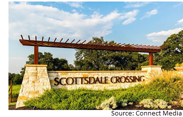 Sign of Scottsdale Crossing Technology Center in Cedar Park, TX