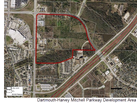 An outline of the affected area in College Station.