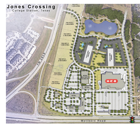 Rendering of site plan for Jones Crossing in College Station