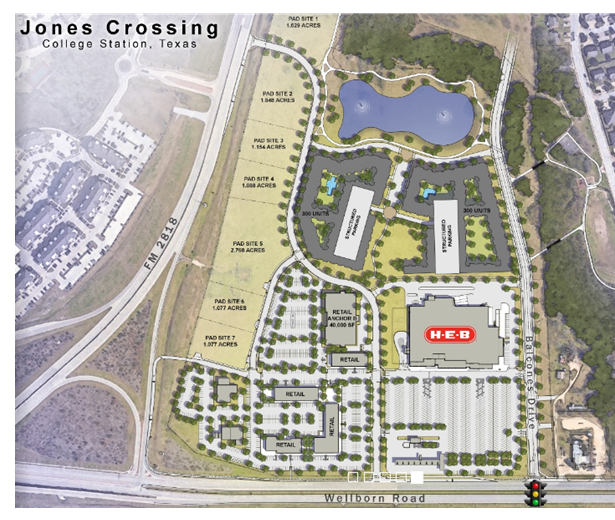 Site plan for the Jones Crossing shopping center in College Station