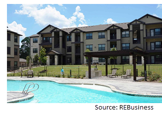 Image of the community pool with apartments in the background.