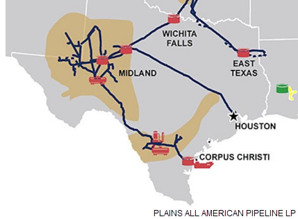 Map of pipelines owned by Houston-based midstream company Plains All American Pipeline LP in Texas.
