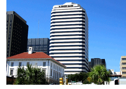 The Frost Bank Plaza Tower in Downtown Corpus Christi.