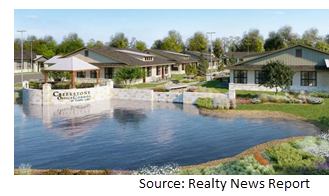 Rendering of the office condos behind a pond.