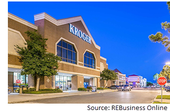 Image of the Kroger store front as the sun sets behind it.