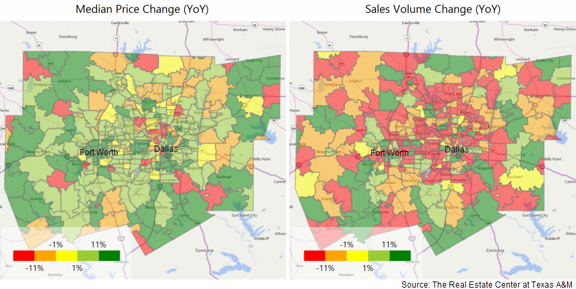 Maps of the Metroplex showing the median price change year over year and the sales volume change year over year in north texas.